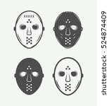 set of vintage hockey masks in... | Shutterstock .eps vector #524874409