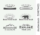 set of vintage camping outdoor... | Shutterstock .eps vector #524874421