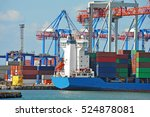 container stack and ship under... | Shutterstock . vector #524878081