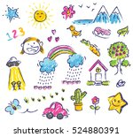 cute kid drawing isolated on... | Shutterstock . vector #524880391