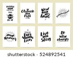 set of 8 cards or posters with... | Shutterstock .eps vector #524892541