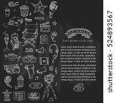 hand drawn doodle cinema set.... | Shutterstock .eps vector #524893567