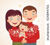 happy christmas family look ... | Shutterstock .eps vector #524894701