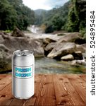 Stock photo fresh drink can with waterfall background 524895484
