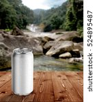 Stock photo aluminum can with waterfall background 524895487