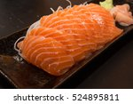 Salmon Raw Sashimi On Brown...