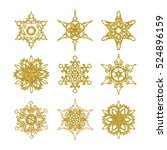gold snowflakes. vector set of... | Shutterstock .eps vector #524896159
