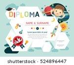 certificate kids diploma ... | Shutterstock .eps vector #524896447