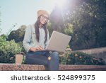happy hipster young woman... | Shutterstock . vector #524899375