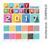 2017 calendar colorful happy... | Shutterstock .eps vector #524899615