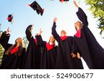 successful five students with... | Shutterstock . vector #524900677