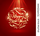 gold ribbon of happy new year... | Shutterstock .eps vector #524905444