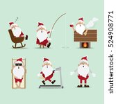 santa claus chimney collection... | Shutterstock .eps vector #524908771
