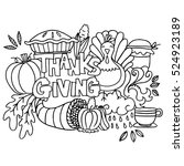 doodle art happy thanksgiving... | Shutterstock .eps vector #524923189