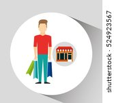 man bag gift store icon vector... | Shutterstock .eps vector #524923567