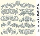victorian baroque floral... | Shutterstock .eps vector #524932534