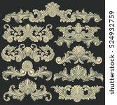 victorian baroque floral... | Shutterstock .eps vector #524932759