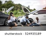woman calls for help and for... | Shutterstock . vector #524935189