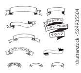 hand drawn ribbons set  vector... | Shutterstock .eps vector #524935504
