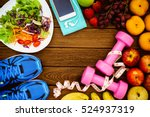 fitness  healthy fruits  fresh... | Shutterstock . vector #524937319