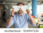 happy businessman with funny... | Shutterstock . vector #524947234