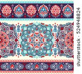 indian floral paisley medallion ... | Shutterstock .eps vector #524948824