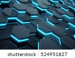 blue abstract hexagonal glowing ... | Shutterstock . vector #524951827