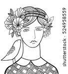 girl with bird hand drawn... | Shutterstock .eps vector #524958559