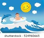 flat illustration. happy... | Shutterstock .eps vector #524960665