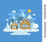 winter village landscape with... | Shutterstock .eps vector #524963239