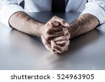 Small photo of impatient bossy businessman hands and gestures holding tight expressing controlled frustration, anger and tension annoyed by management