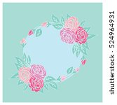 vintage card with pastel roses... | Shutterstock .eps vector #524964931