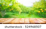 wood table top with blur of... | Shutterstock . vector #524968507