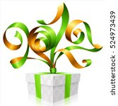 vector green ribbon and gift... | Shutterstock .eps vector #524973439