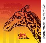 cartoon graphic giraffe and... | Shutterstock .eps vector #524974069
