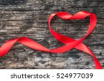 red heart shaped ribbon... | Shutterstock . vector #524977039