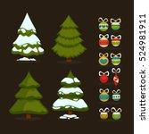 christmas tree set of  green... | Shutterstock .eps vector #524981911