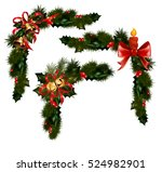 christmas decorations with fir... | Shutterstock .eps vector #524982901