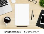 blank a4 paper on top of wood... | Shutterstock . vector #524984974