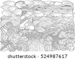 lighthouse and shells  seascape.... | Shutterstock . vector #524987617