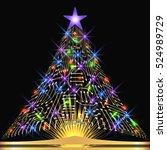christmas fir tree from digital ... | Shutterstock . vector #524989729