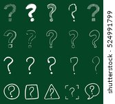 vector set of chalk question... | Shutterstock .eps vector #524991799
