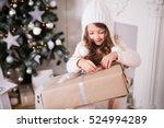 little girl with christmas...   Shutterstock . vector #524994289