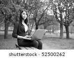 the girl with laptop on outdoor | Shutterstock . vector #52500262