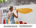 young beautiful blonde woman... | Shutterstock . vector #525003457