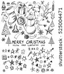 christmas star sketch vector... | Shutterstock .eps vector #525004471