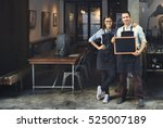 couple barista coffee shop... | Shutterstock . vector #525007189