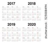 simple calendar template for... | Shutterstock .eps vector #525008494