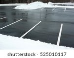 Empty Parking Lot With Snow...