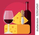 flat icon bottle of wine  glass ... | Shutterstock .eps vector #525014569